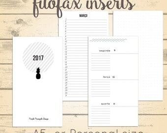 2017 Filofax inserts - Weekly planner A5 or personal size