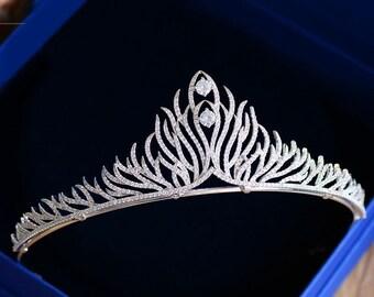 Wedding TiaraRhinestone Tiara Cubic zirconia Tiara Cz tiara  Bridal Crown Crystal Tiara Crystal Wedding Crown Diamante Crown Bridal Tiara