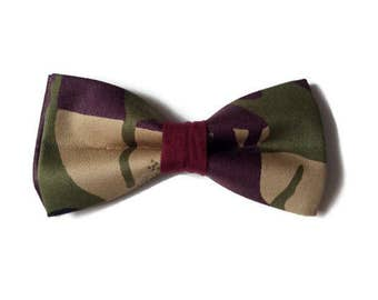 Mens Camouflage African Print Pre-tied Bow tie And Pocket Square, Afroneckties Mens African Clothing,  African Bow tie And Handkerchief