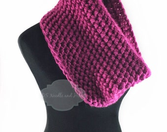 Pink Crochet Scarf, Fuchsia Crochet Cowl, Bright Pink Infinity Scarf, Magenta Neck Warmer, Handmade Crochet Scarf, Hot Pink Snood Scarf