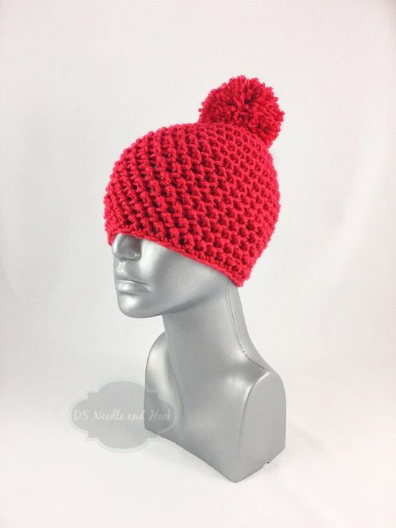 Red Crochet Beanie with Pom, Scarlet Crochet Hat, Crochet Winter Beanie With Puff, Bright Red Pom Pom Knit Hat, Warm Ski Cap