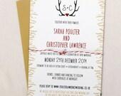 Winter Wonderland themed, Gold and Red Wedding Invitation