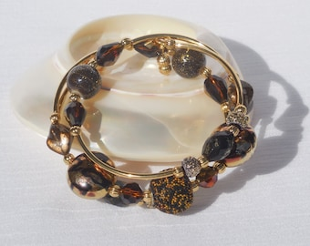 Brown, amber, and gold memory wire bracelet