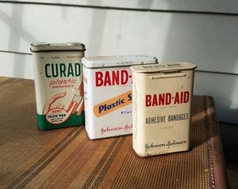 Vintage bandage tins Band-Aid Curad plastic strips first aid vintage medical johnson and johnson bandaids  Flesh colored