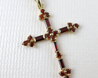 Gold Garnet Cross Necklace, Vintage 14K Gold Garnet Cross Pendant Necklace Made In Mexico
