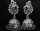 Silver Jhumkas, silver bollywood earrings, silver jhumki, plain jhumka, big bollywood earrings, peacock earrings,silver tone jhumkas, Indian