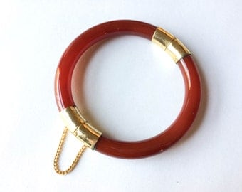 Brown plastic and gold tone bangle bracelet | Plastic jewelry |