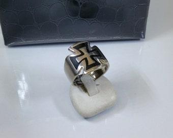 20 mm ring 925 Silver iron cross black SR307
