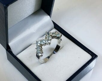 20.2 mm ring 925 Silver crystals light blue SR344