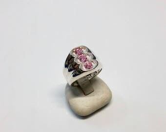 Pink crystals SR670 18 mm ring 925 silver glitter