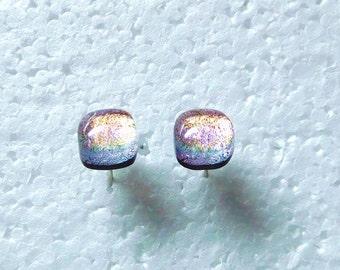 Beautiful dichroic  glass stud earrings