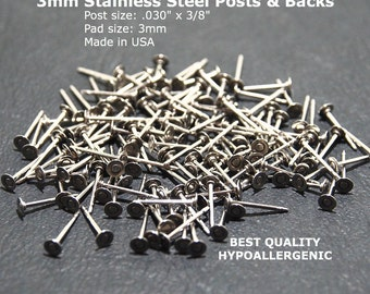 3mm Stainless Steel Flat Pad Earring Posts & Backs, 3mm Flat Pad Stud Findings, 3mm Earring Stud Posts, 3mm Hypoallergenic, Made in USA