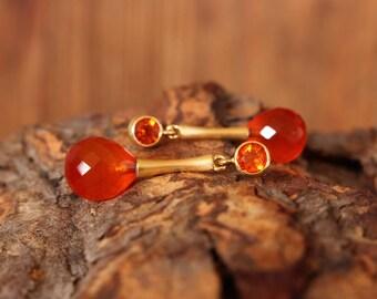 Gold Earrings fire opal cornelian, gold Stud Earrings, earrings hanging