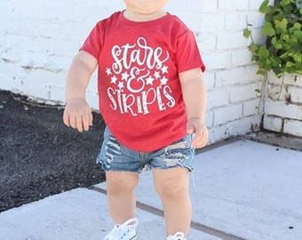 stars and stripes - patriotic tee - 4th of july tee - navy tshirt - kids tshirts - trendy shirts for kids -