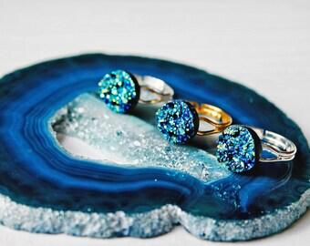 Mermaid Blue Druzy Ring