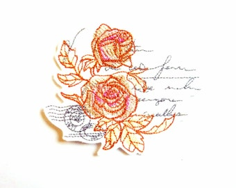 Embroidered roses on a letter