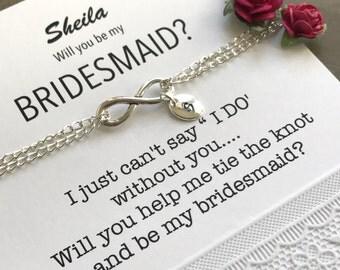 Bridesmaid infinity bracelet, Bridesmaid proposal, Ask bridesmaids, Bridesmaid ask gift, Be my bridesmaid, Personalized bridesmaid gift, B32