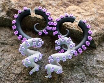 Octopus Gauges, Fake Plugs, Faux Gauges, Ear Plugs, Asymmetrical Earrings, Tentacle Gauge Earrings, Octopus Jewelry, Fake Gauge Earrings