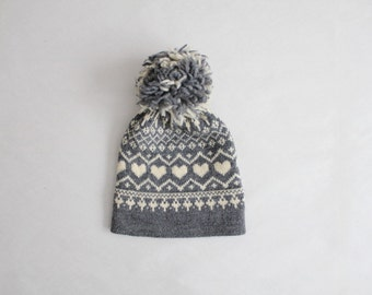 pom winter hat   heart beanie   wool pom hat