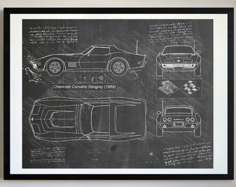 Chevrolet Corvette Stingray (1969) Corvette Artwork, Blueprint Specs, Blueprint Patent Prints Posters, Decor, Art, Car Art, Cars (#213)