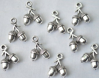 8 Pcs Acorn Charms Pine Nuts Charms Antique Silver Tone 3D 12x12mm - YD1791