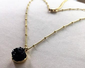 Agate Natural Stone (Black) Necklace - Gold