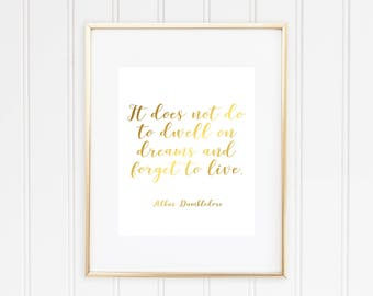 It Does Not Do To Dwell On Dreams And Forget To Live, Albus Dumbledore, Harry Potter, Real Foil Print, Home Decor, Dumbledore Quote