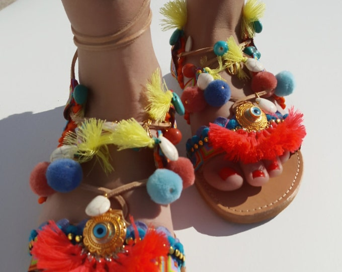 "Greek handmade sandals ""ALOHA"" handmade,tie up gladiator sandals,ethnic,boho,pompom sandals,women's sandals lace up gladiator fringes"
