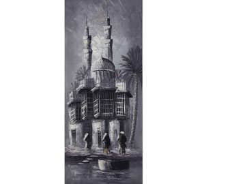 Canvas Wall Art Traditional Arabic Streets Of Baghdad Knife Art Original Grey Monochrome Hand Painted by Amer AlKaisy -93x35cm -in 3 Designs