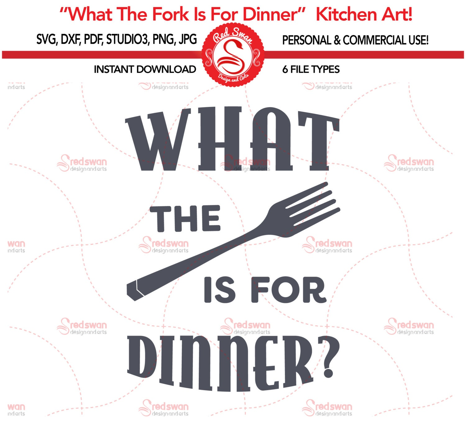 Funny Kitchen Art Funny Wedding Sign Instant Download Tea: Kitchen SVG What The Fork Is For Dinner Cutting File Svg