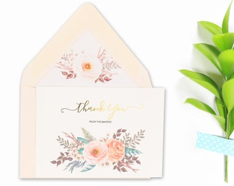 Personalized Stationery, Watercolor Florals with Gold Foil, Thank You Cards, Gift for Him, Gift for Her, Custom, Blush