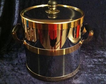 Super Cool 1970's Chrome And Brass Ice Bucket