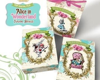 Alice in Wonderland Favor Box - Printable Treat Box - Alice in Wonderland Box - Instant Download - 03 Decorated Boxes - Alice in Wonderland