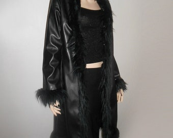 90s Vtg Faux Fur Trimmed Leatherette Pvc Goth Grunge Vamp Matrix Coat Size Small Medium