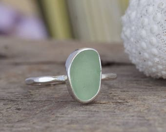 Seafoam Seaglass Stack Ring! Sterling Silver