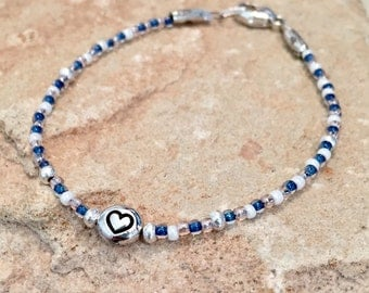 Blue, pink and white seed bead bracelet, message bracelet, heart bracelet, Hill Tribe silver bracelet, charm bracelet, gift for her