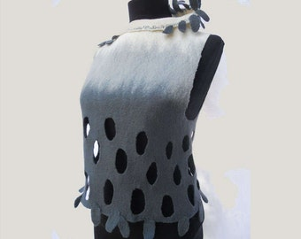 Felted top, Gray and white merino top, Felt top with high asymmetrical collar