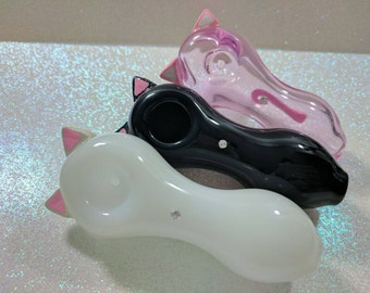 Pretty Kitty Ears and Tail Pink Glass Pipe, Glass Spoon Pipe, Custom Glass Pipe, Smoking Pipe