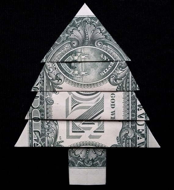 Money Origami CHRISTMAS TREE Art Gift Xtree Made out of Real - photo#6