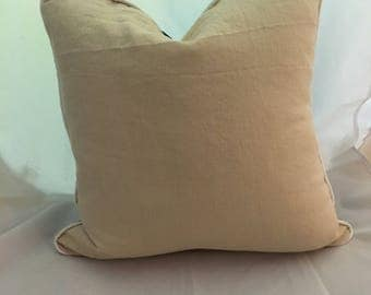 20 inch Washed Linen Tricolor Feather Down Decorative Throw Pillow
