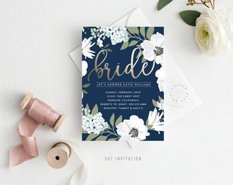 Printable Bridal Shower Invitation | Golden Bride, Faux Foiling, Navy Blue, Kraft, Floral, Bride to Be