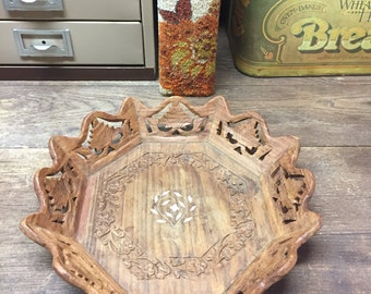 Vintage wood tray dish hand carved