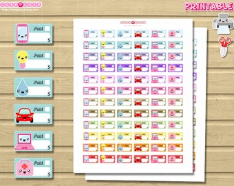 Kawaii Monthly Bills, Printable Planner stickers, Print and Cut by Hand. Cute but functional ...