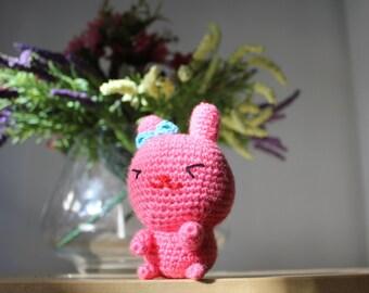 SALE  Pink Bunny Crochet Rabbit Toy