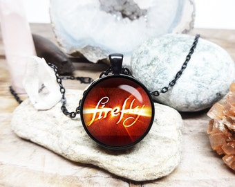 firefly necklace firefly logo pendant joss whedon fan necklace sci fi jewelry sci fi necklace sci fi fan gift jewelry serenity necklace