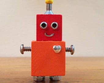 Robot, robot sculpture, assemblage art, robots, assemblage, found object art, found object robot, small robot