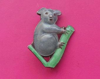 Silver And Enamel Koala BROOCH