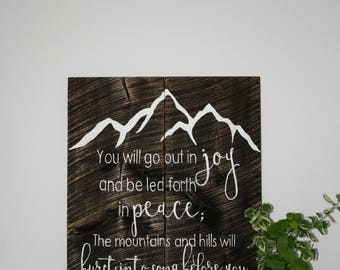 You Will Go Out In Joy, Bible Verse, Wooden Sign, Rustic Sign, Scripture Art, Custom Wood Sign, Custom Sign, Home Decor, Wall Decor, Decor