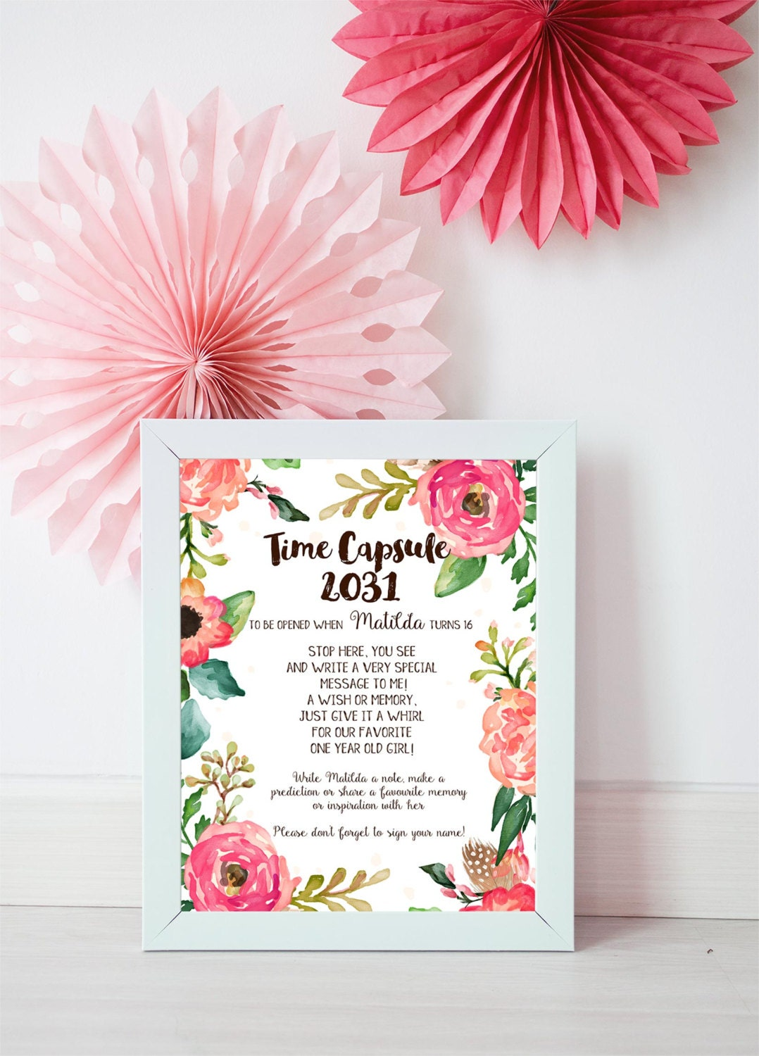 Time Capsule Sign Floral Baby Shower Time Capsule Signfloral