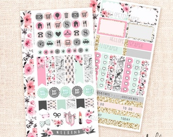 Girly - Personal size sticker kit / 2+ functional sheets for personal planners